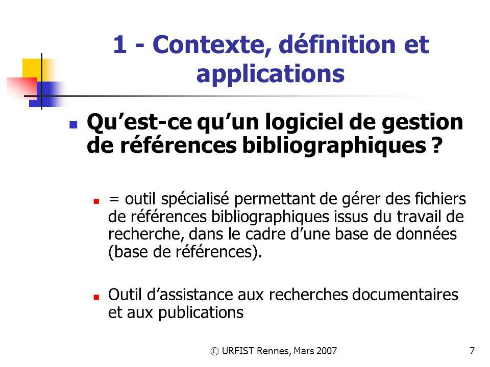 1 - Contexte, définition et applications