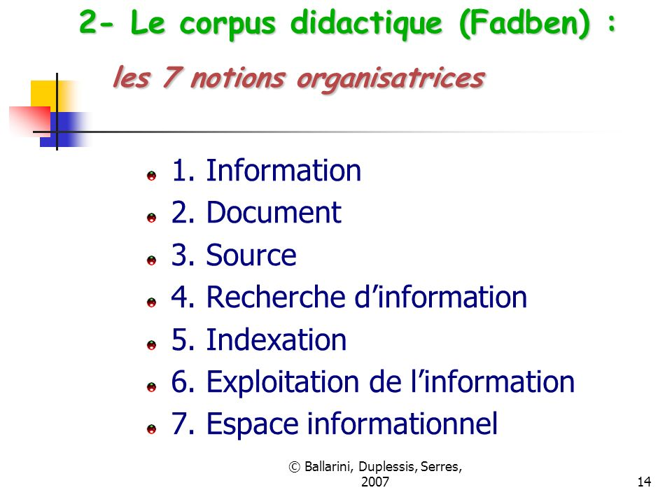 2- Le corpus didactique (Fadben) : les 7 notions organisatrices