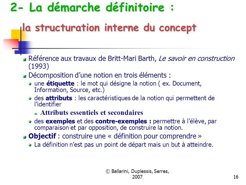 2- La démarche définitoire : la structuration interne du concept