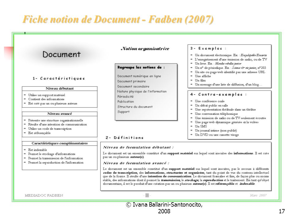 Fiche notion de Document - Fadben (2007)