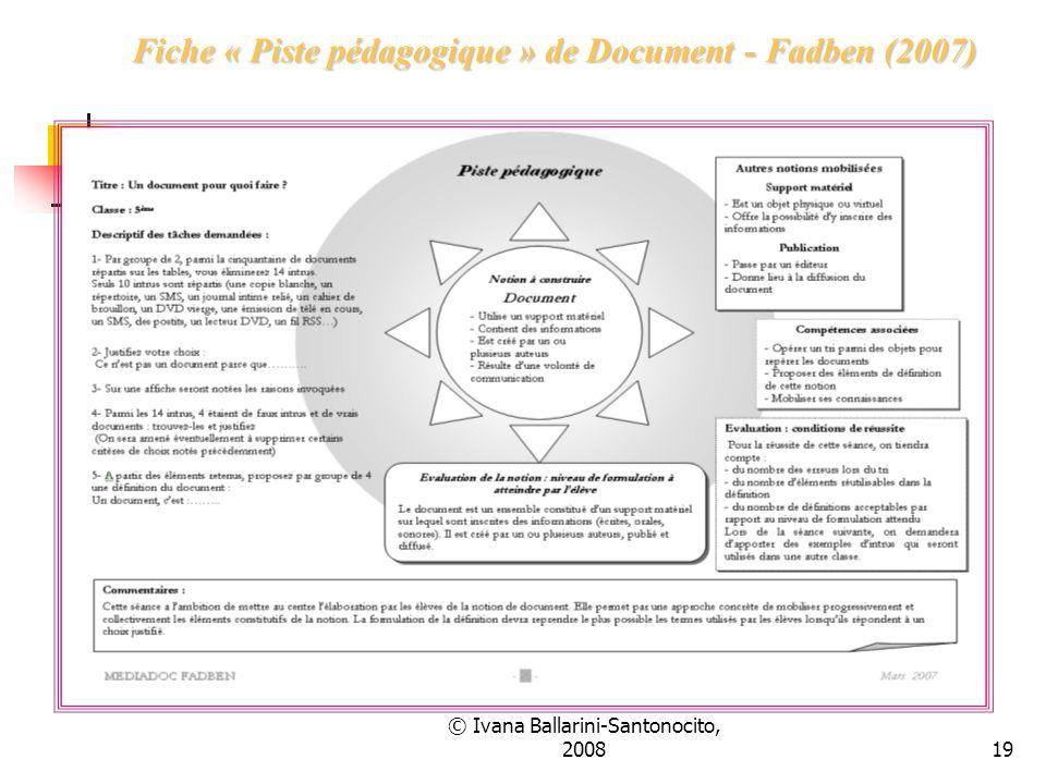 Fiche « Piste pédagogique » de Document - Fadben (2007)