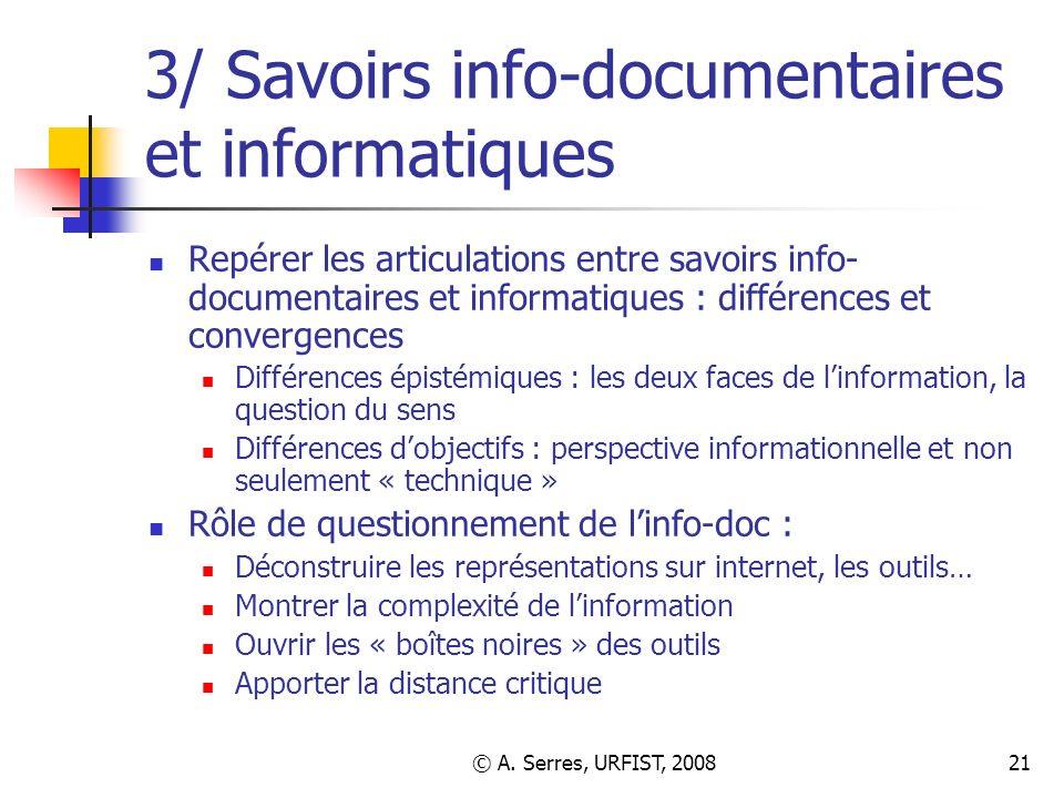 3/ Savoirs info-documentaires et informatiques