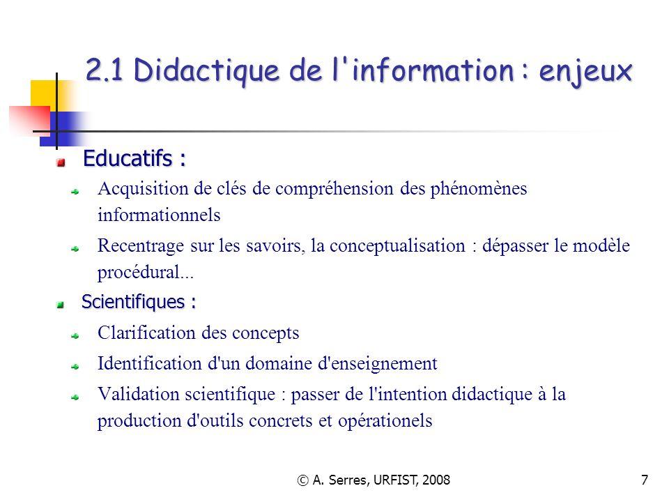 2.1 Didactique de l information : enjeux
