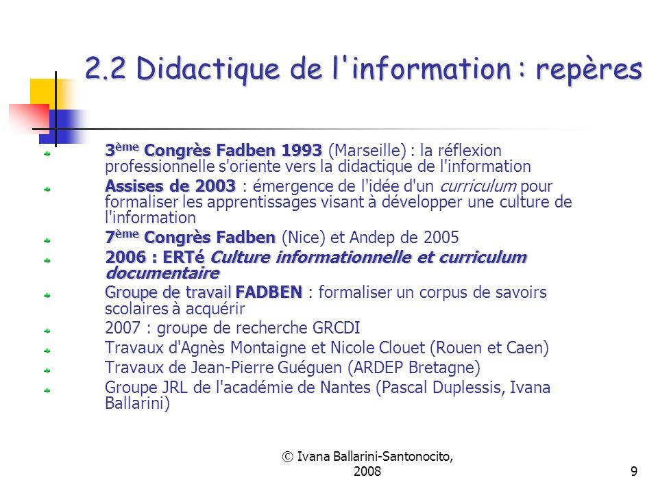 2.2 Didactique de l information : repères