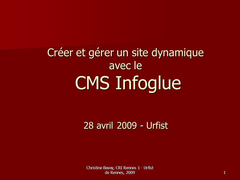 Christine Bavay, CRI Rennes 1 - Urfist de Rennes, 2009