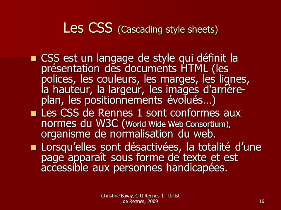 Les CSS (Cascading style sheets)