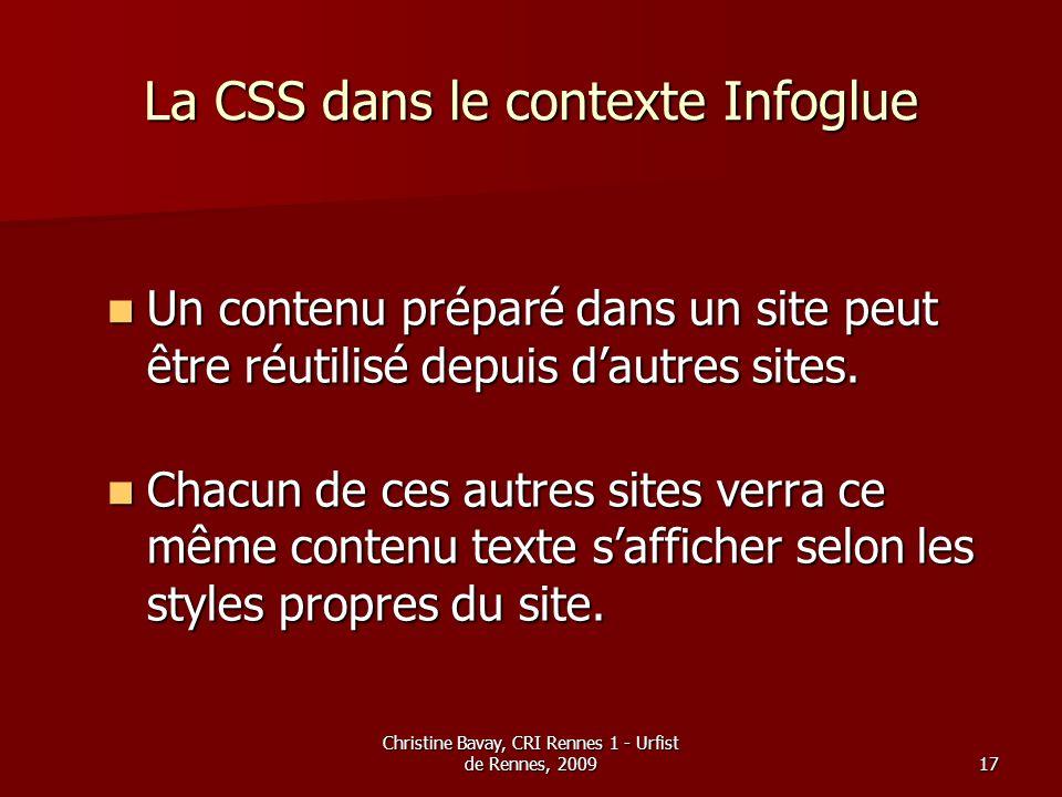 La CSS dans le contexte Infoglue
