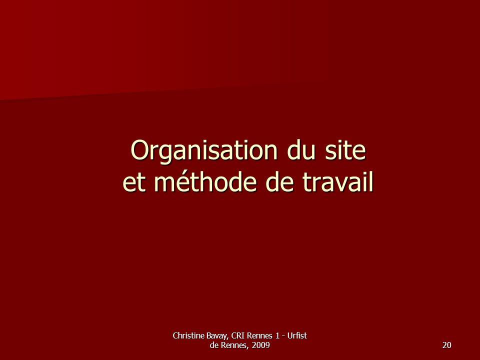Organisation du site et méthode de travail