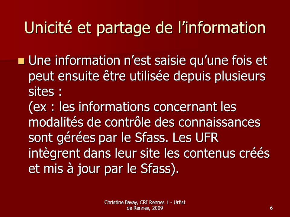 Unicité et partage de l'information