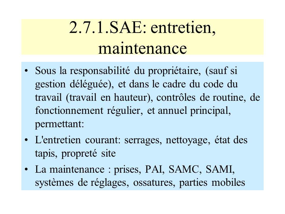 2.7.1.SAE: entretien, maintenance