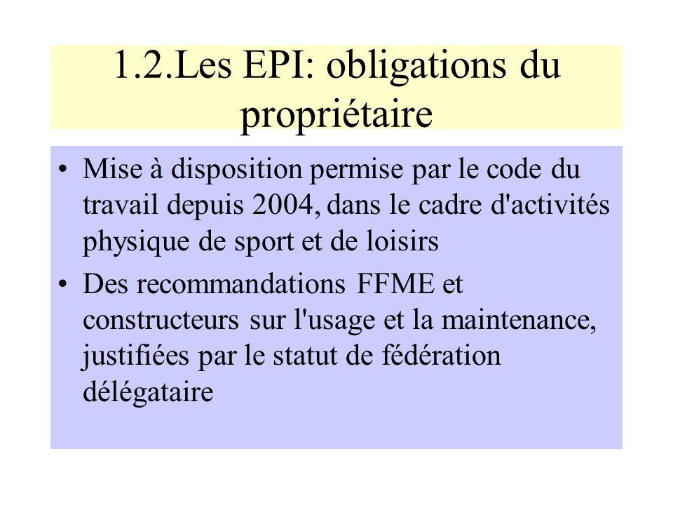 1.2.Les EPI: obligations du propriétaire