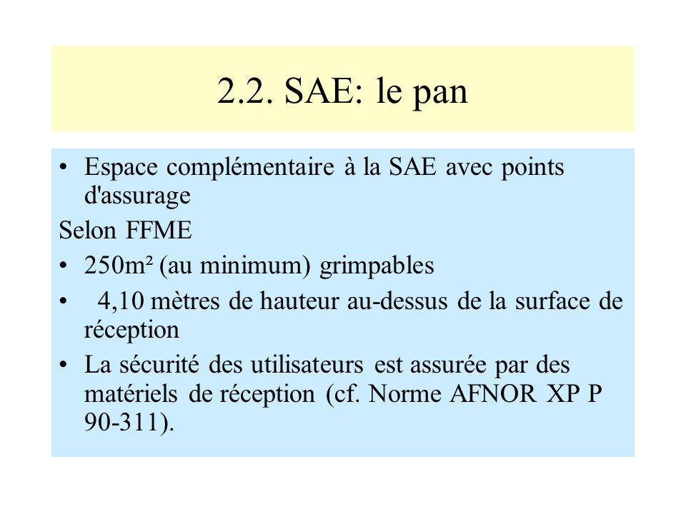 2.2. SAE: le pan Espace complémentaire à la SAE avec points d assurage