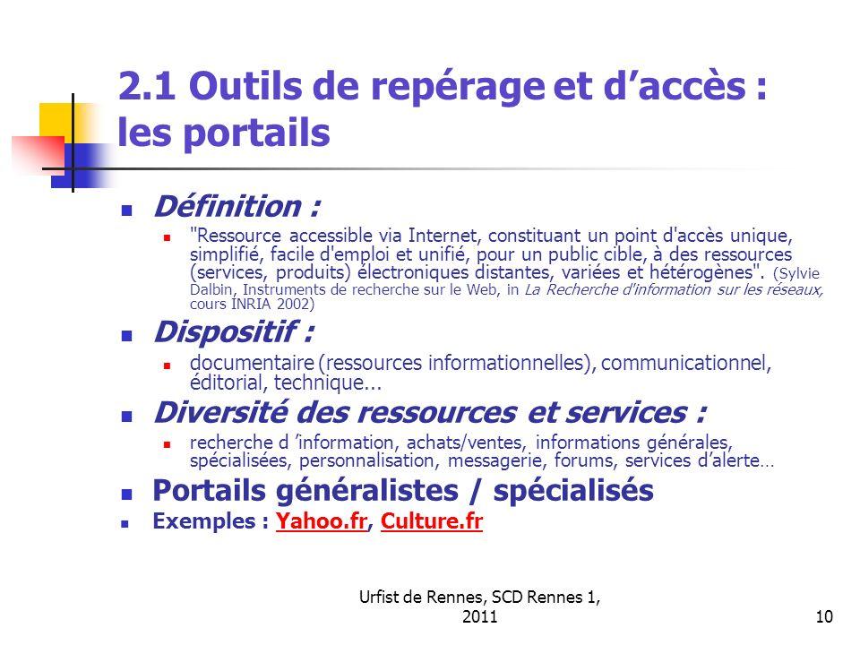 2.1 Outils de repérage et d'accès : les portails