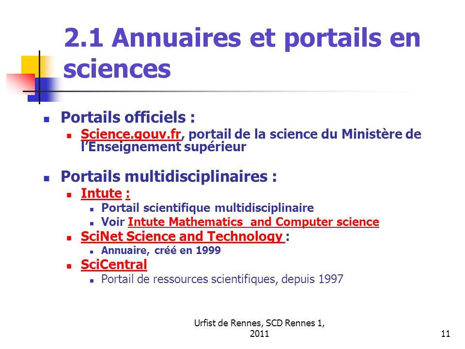 2.1 Annuaires et portails en sciences