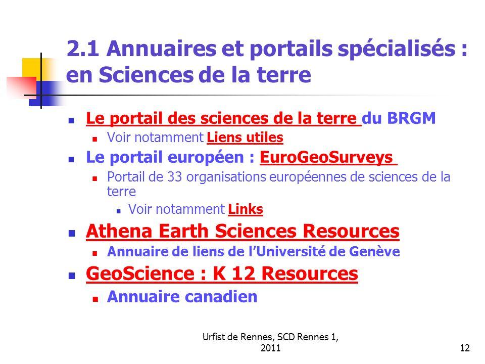 2.1 Annuaires et portails spécialisés : en Sciences de la terre