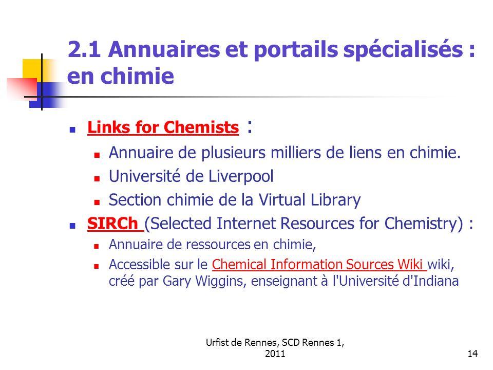 2.1 Annuaires et portails spécialisés : en chimie