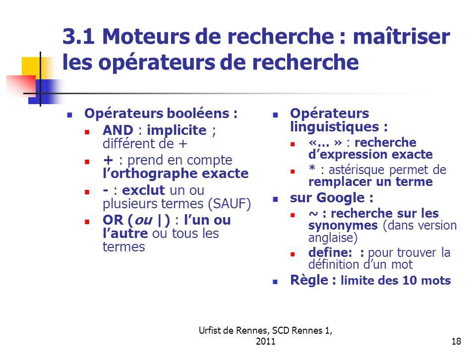 3.1 Moteurs de recherche : maîtriser les opérateurs de recherche