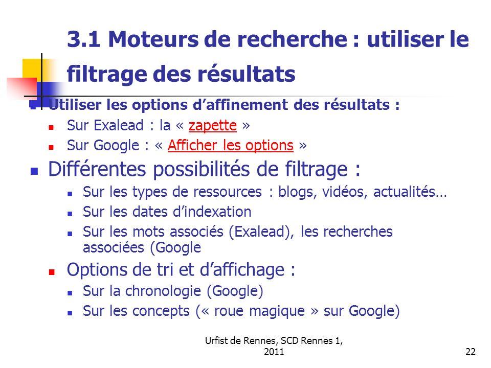 3.1 Moteurs de recherche : utiliser le filtrage des résultats