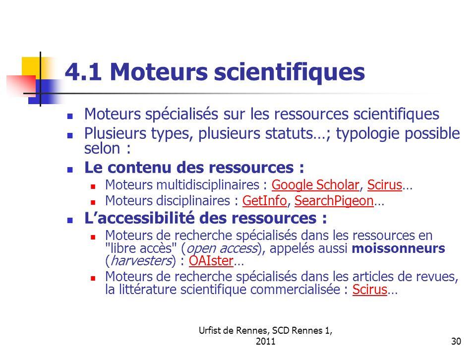4.1 Moteurs scientifiques