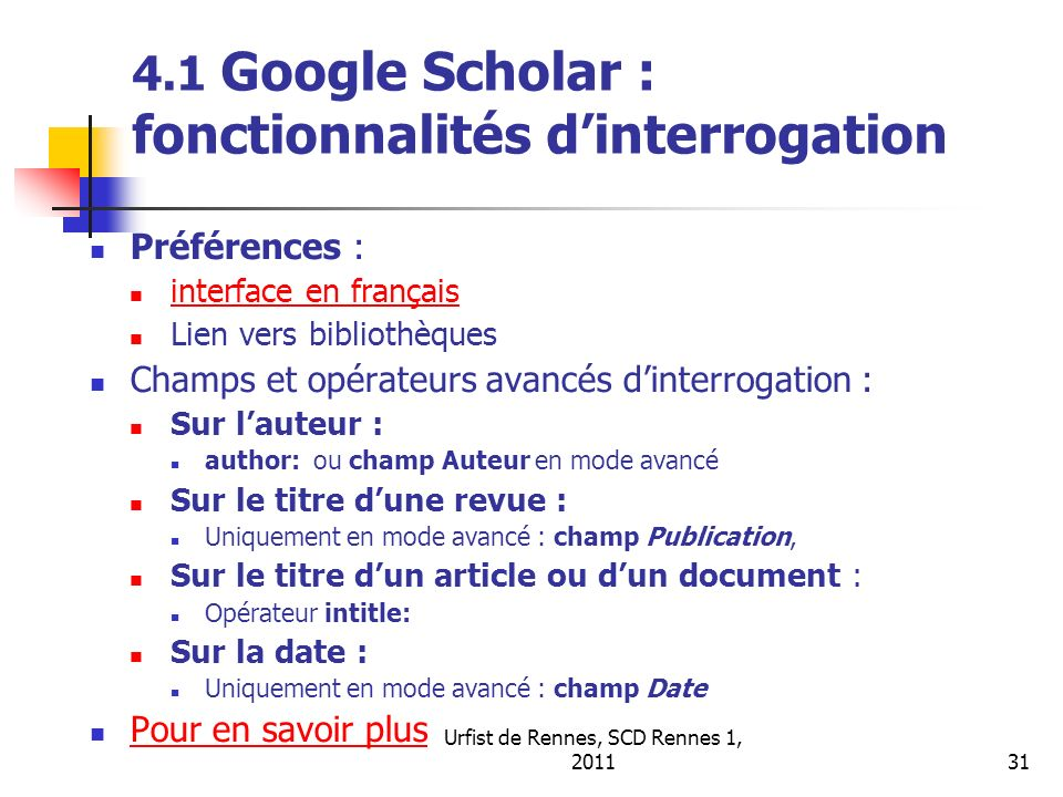 4.1 Google Scholar : fonctionnalités d'interrogation