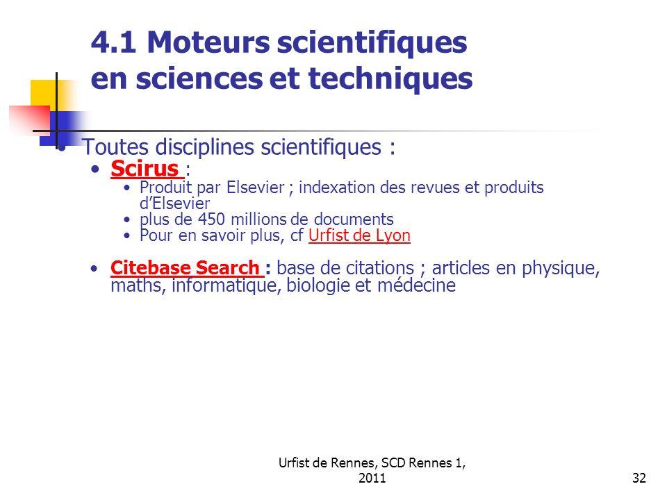 4.1 Moteurs scientifiques en sciences et techniques
