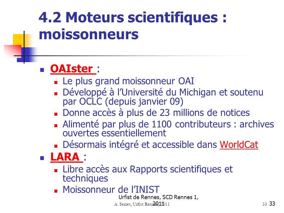4.2 Moteurs scientifiques : moissonneurs