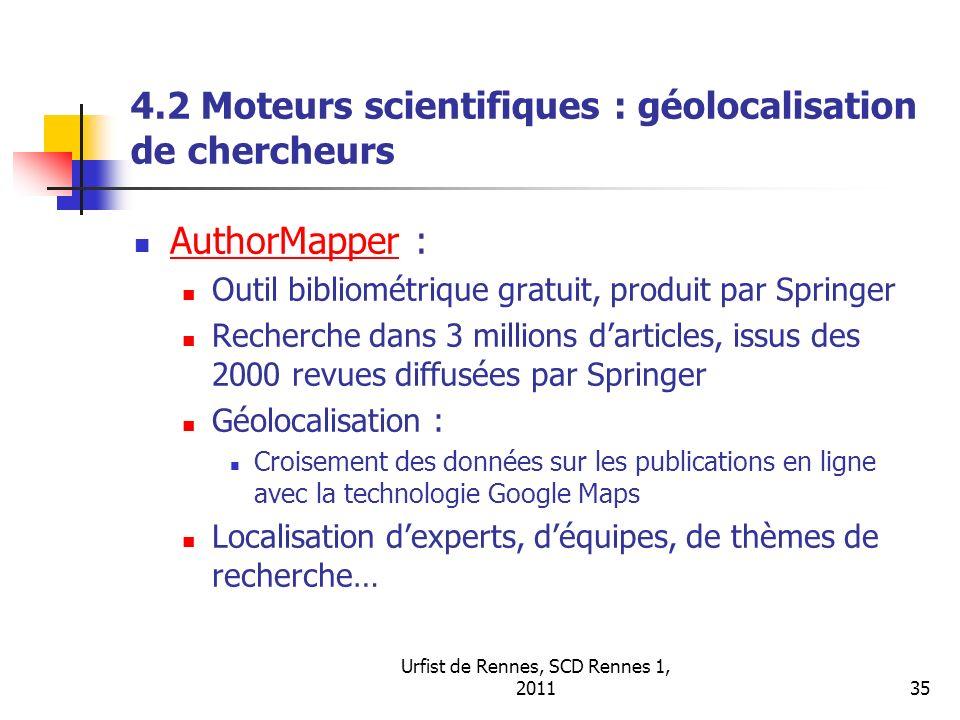 4.2 Moteurs scientifiques : géolocalisation de chercheurs