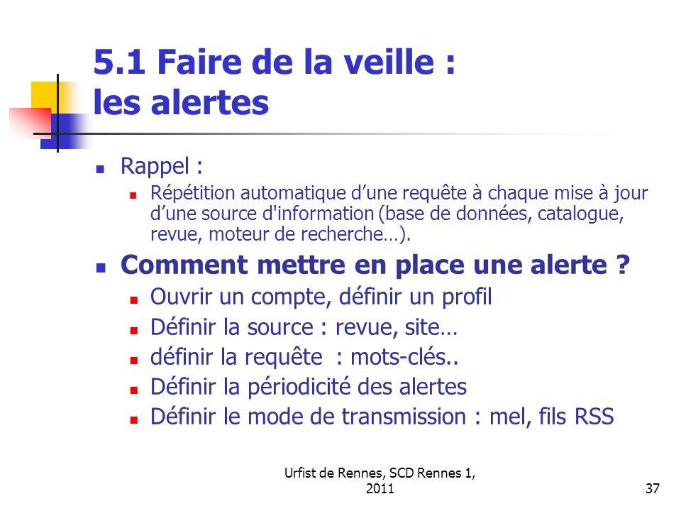 5.1 Faire de la veille : les alertes