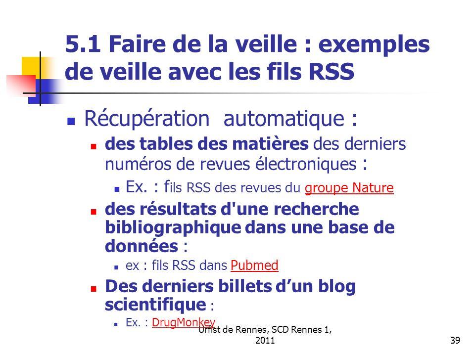 5.1 Faire de la veille : exemples de veille avec les fils RSS