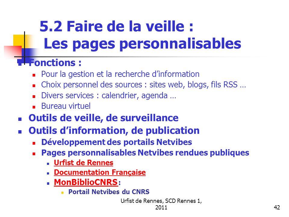 5.2 Faire de la veille : Les pages personnalisables