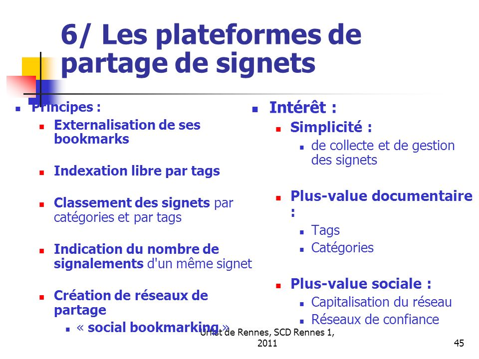 6/ Les plateformes de partage de signets