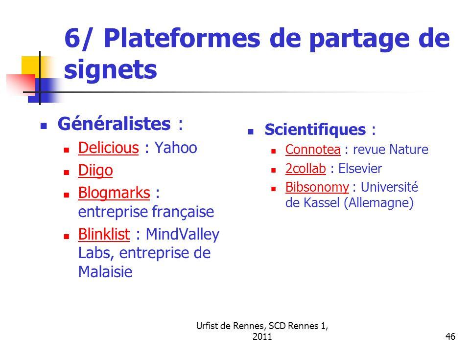 6/ Plateformes de partage de signets