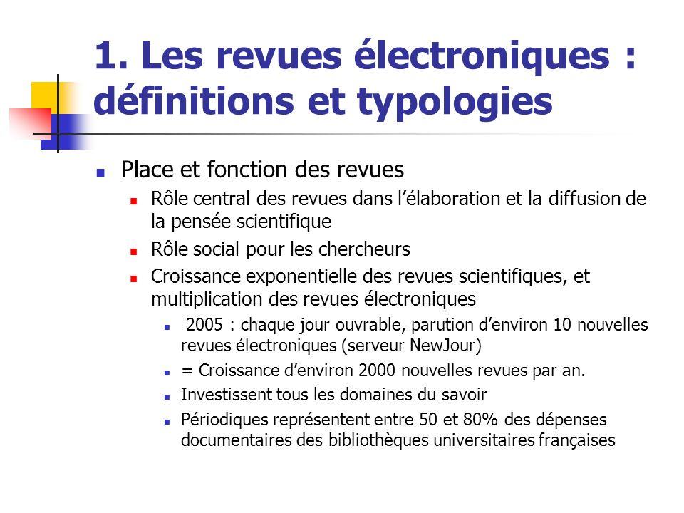 1. Les revues électroniques : définitions et typologies