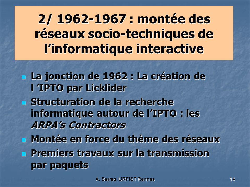 2/ 1962-1967 : montée des réseaux socio-techniques de l'informatique interactive