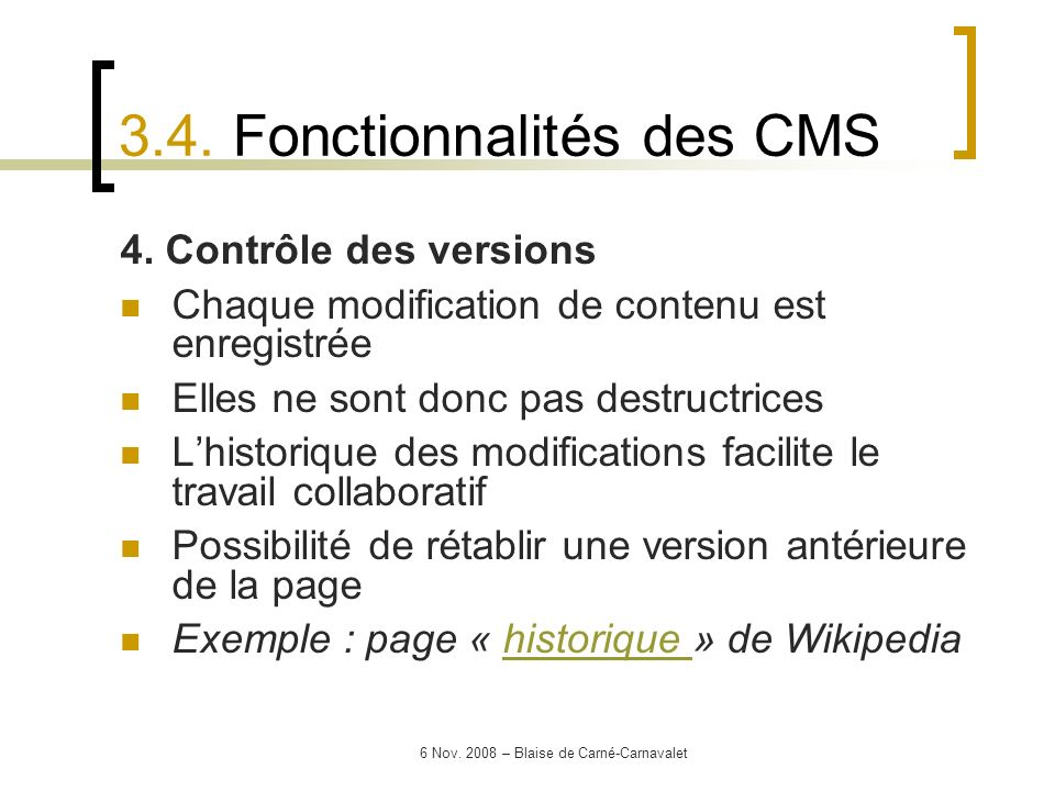 3.4. Fonctionnalités des CMS