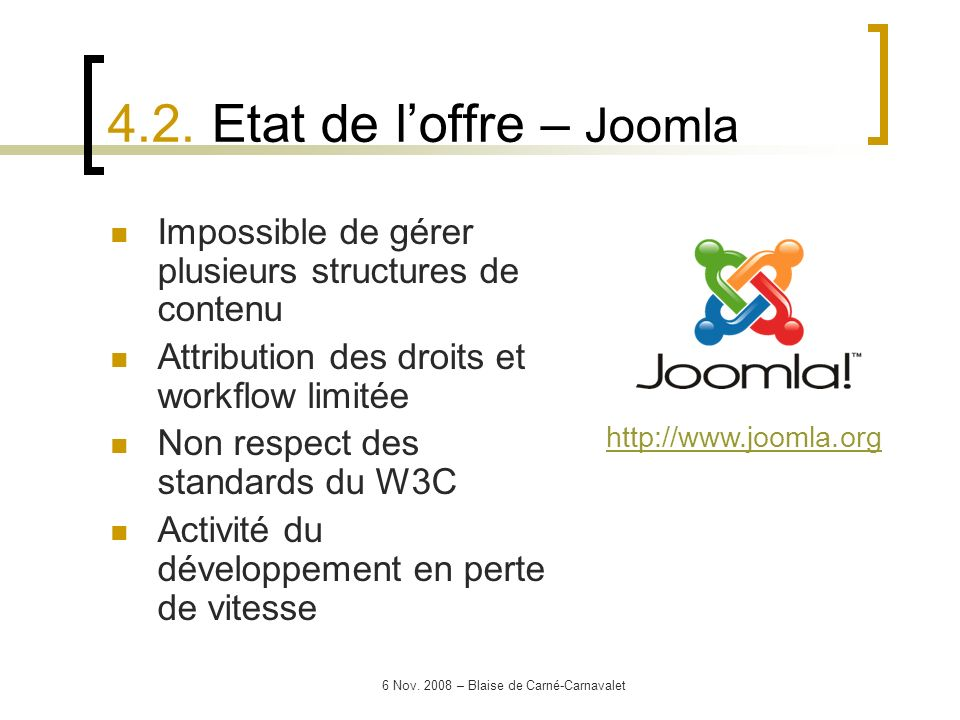 4.2. Etat de l'offre – Joomla