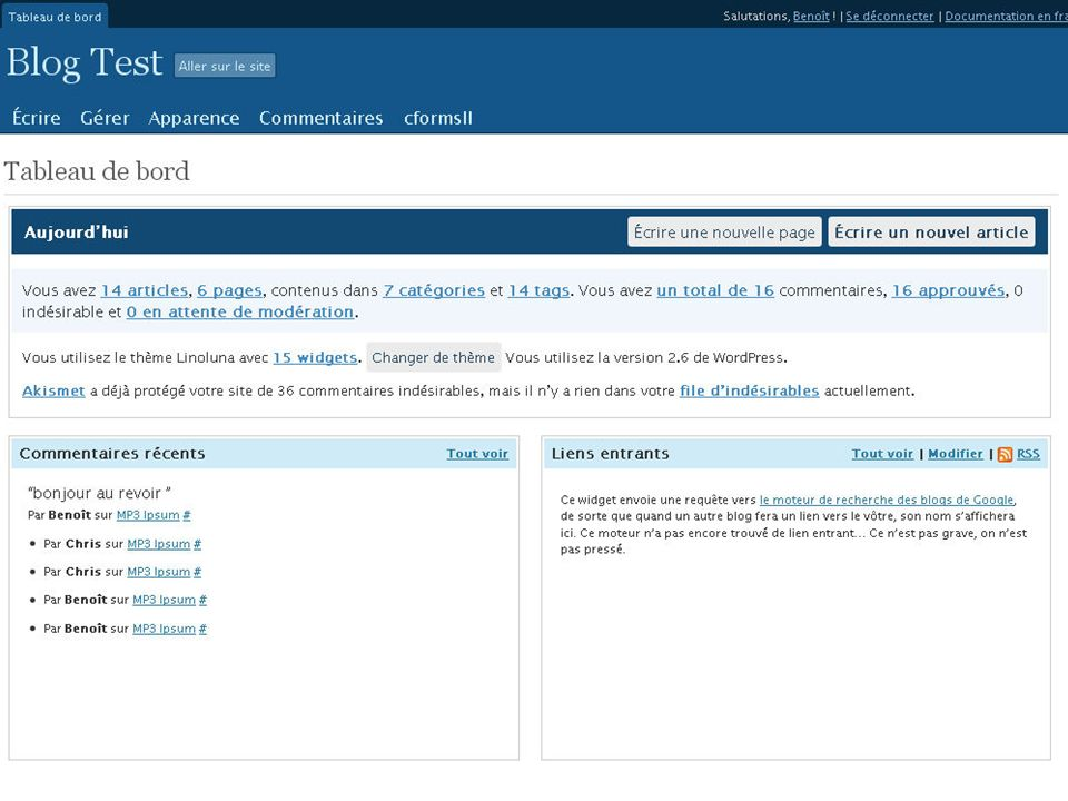 4.2. Etat de l'offre – WordPress