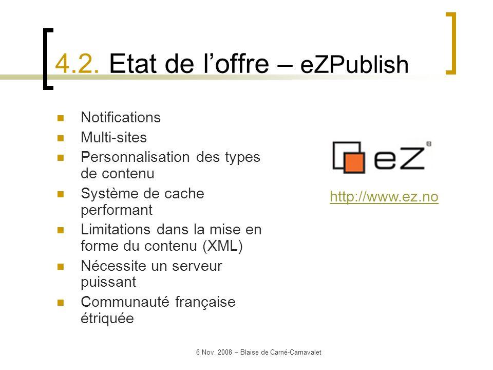 4.2. Etat de l'offre – eZPublish