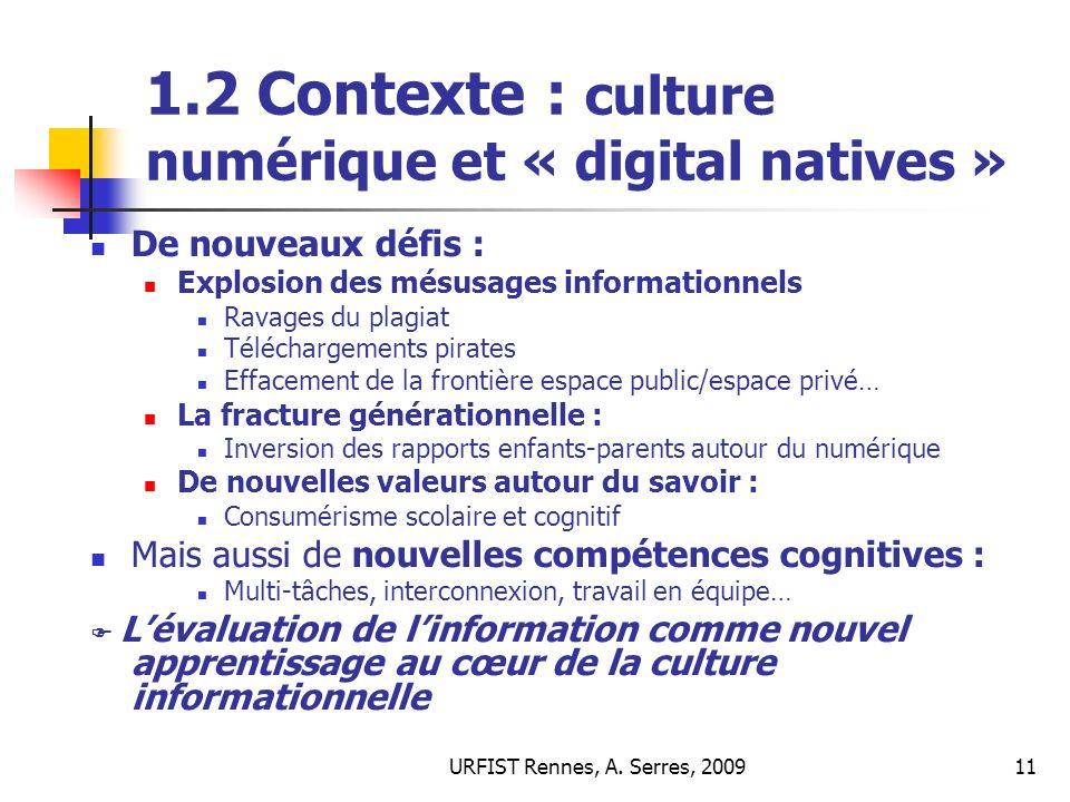 1.2 Contexte : culture numérique et « digital natives »