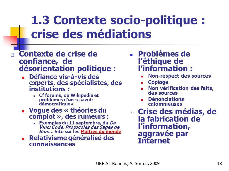 1.3 Contexte socio-politique : crise des médiations