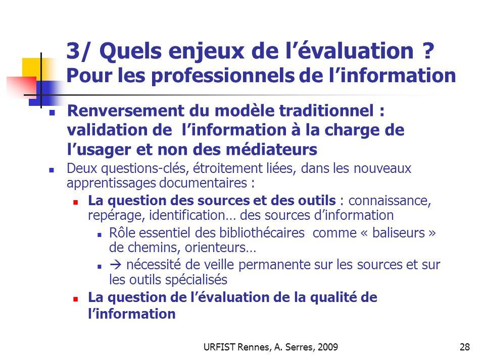 3/ Quels enjeux de l'évaluation