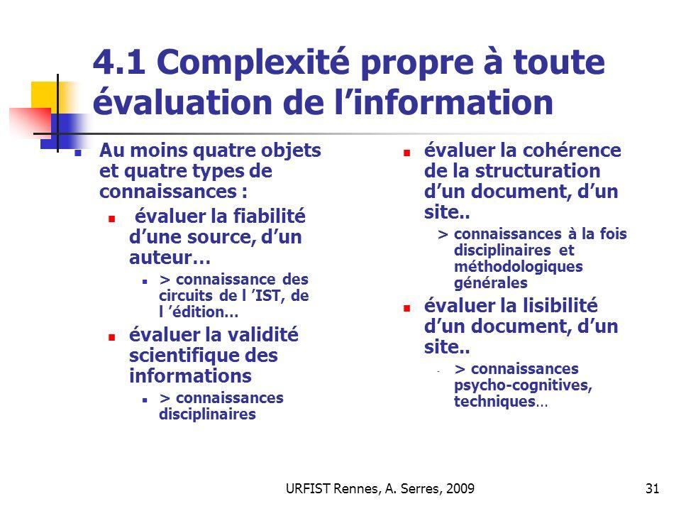 4.1 Complexité propre à toute évaluation de l'information