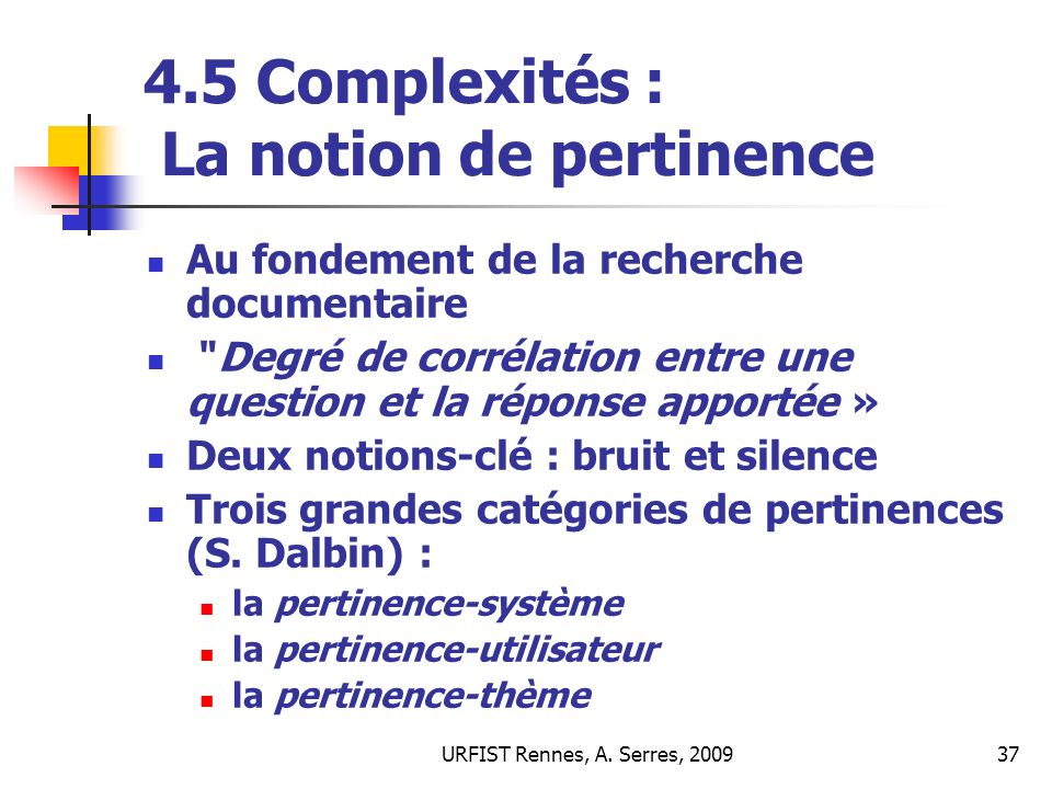 4.5 Complexités : La notion de pertinence