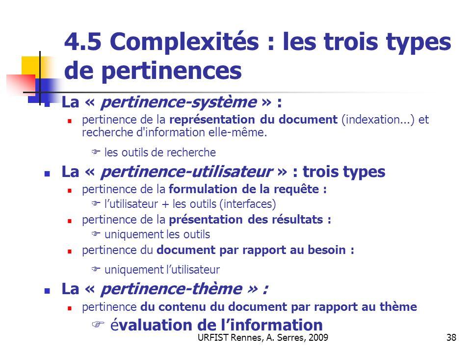 4.5 Complexités : les trois types de pertinences