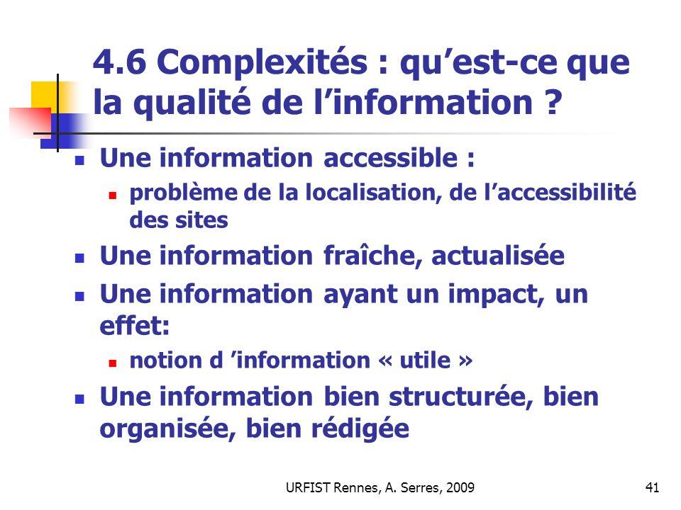 4.6 Complexités : qu'est-ce que la qualité de l'information