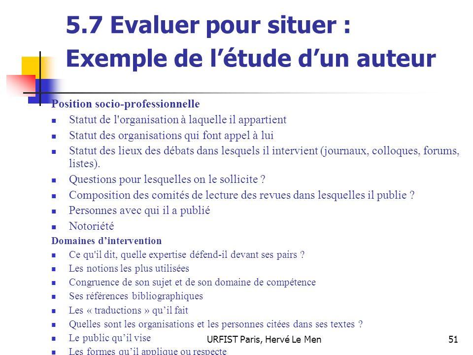 5.7 Evaluer pour situer : Exemple de l'étude d'un auteur