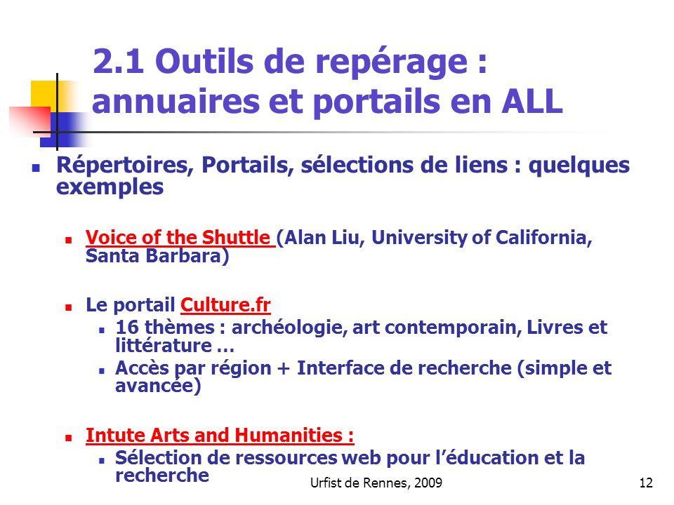 2.1 Outils de repérage : annuaires et portails en ALL
