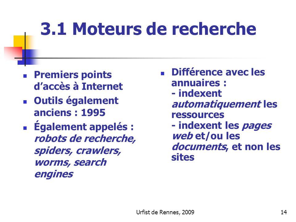 3.1 Moteurs de recherchePremiers points d'accès à Internet. Outils également anciens : 1995.