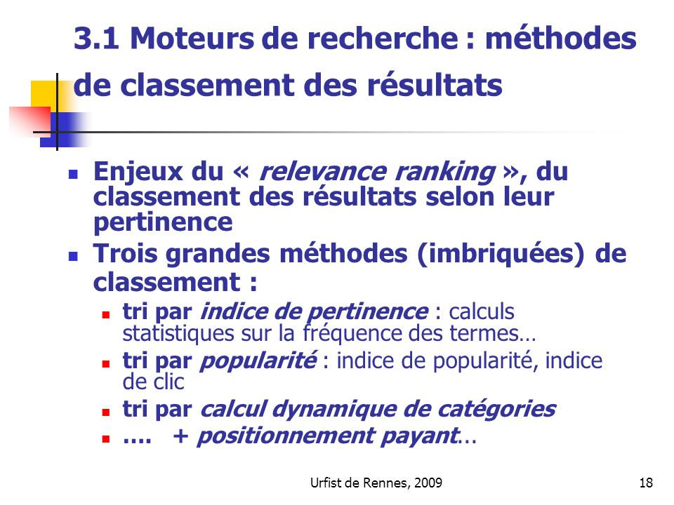 3.1 Moteurs de recherche : méthodes de classement des résultats