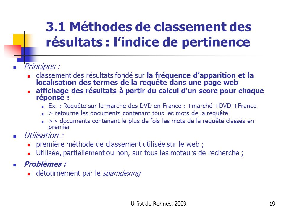3.1 Méthodes de classement des résultats : l'indice de pertinence